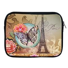 Fuschia Flowers Butterfly Eiffel Tower Vintage Paris Fashion Apple iPad 2/3/4 Zipper Case