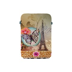 Fuschia Flowers Butterfly Eiffel Tower Vintage Paris Fashion Apple Ipad Mini Protective Soft Case