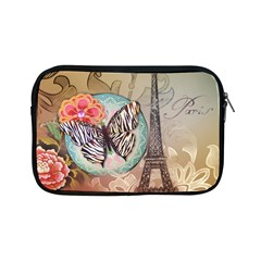 Fuschia Flowers Butterfly Eiffel Tower Vintage Paris Fashion Apple iPad Mini Zipper Case
