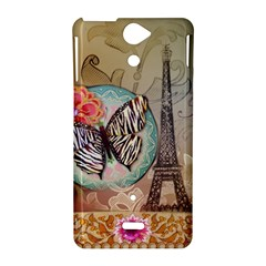 Fuschia Flowers Butterfly Eiffel Tower Vintage Paris Fashion Sony Xperia V Hardshell Case