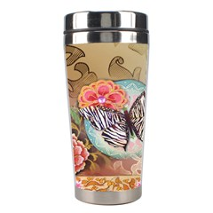 Fuschia Flowers Butterfly Eiffel Tower Vintage Paris Fashion Stainless Steel Travel Tumbler
