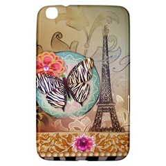 Fuschia Flowers Butterfly Eiffel Tower Vintage Paris Fashion Samsung Galaxy Tab 3 (8 ) T3100 Hardshell Case