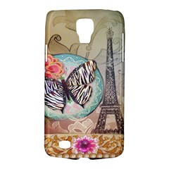 Fuschia Flowers Butterfly Eiffel Tower Vintage Paris Fashion Samsung Galaxy S4 Active (I9295) Hardshell Case
