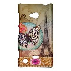 Fuschia Flowers Butterfly Eiffel Tower Vintage Paris Fashion Nokia Lumia 720 Hardshell Case