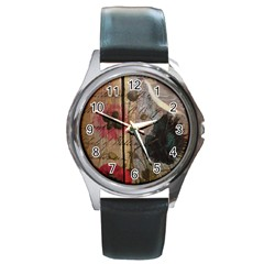Vintage Bird Poppy Flower Botanical Art Round Metal Watch (Silver Rim)