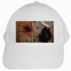 Vintage Bird Poppy Flower Botanical Art White Baseball Cap