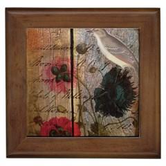 Vintage Bird Poppy Flower Botanical Art Framed Ceramic Tile