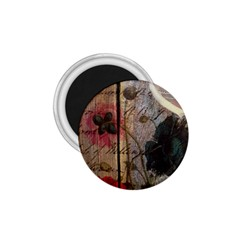 Vintage Bird Poppy Flower Botanical Art 1 75  Button Magnet
