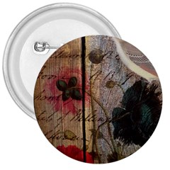 Vintage Bird Poppy Flower Botanical Art 3  Button