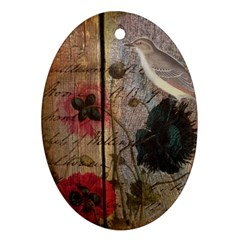 Vintage Bird Poppy Flower Botanical Art Oval Ornament