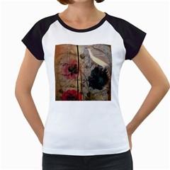 Vintage Bird Poppy Flower Botanical Art Women s Cap Sleeve T-Shirt (White)