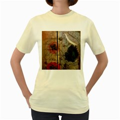 Vintage Bird Poppy Flower Botanical Art  Womens  T-shirt (Yellow)