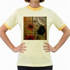 Vintage Bird Poppy Flower Botanical Art Womens  Ringer T-shirt (Colored)