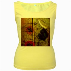 Vintage Bird Poppy Flower Botanical Art Womens  Tank Top (Yellow)