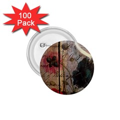 Vintage Bird Poppy Flower Botanical Art 1 75  Button (100 Pack)