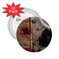 Vintage Bird Poppy Flower Botanical Art 2.25  Button (10 pack)