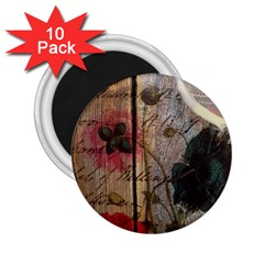 Vintage Bird Poppy Flower Botanical Art 2.25  Button Magnet (10 pack)