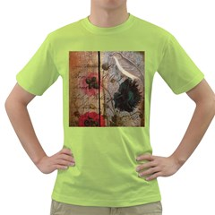 Vintage Bird Poppy Flower Botanical Art Mens  T-shirt (Green)