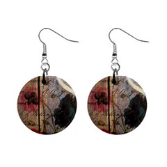Vintage Bird Poppy Flower Botanical Art Mini Button Earrings
