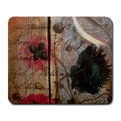 Vintage Bird Poppy Flower Botanical Art Large Mouse Pad (Rectangle)