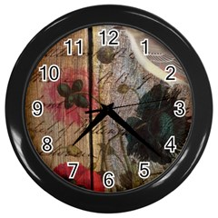 Vintage Bird Poppy Flower Botanical Art Wall Clock (black)