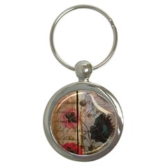 Vintage Bird Poppy Flower Botanical Art Key Chain (Round)