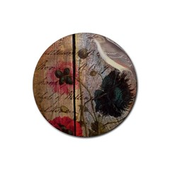 Vintage Bird Poppy Flower Botanical Art Drink Coasters 4 Pack (Round)