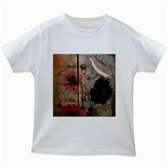 Vintage Bird Poppy Flower Botanical Art Kids' T-shirt (White)