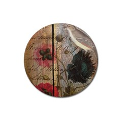 Vintage Bird Poppy Flower Botanical Art Magnet 3  (Round)