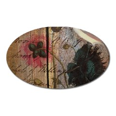 Vintage Bird Poppy Flower Botanical Art Magnet (oval)