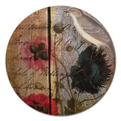 Vintage Bird Poppy Flower Botanical Art Magnet 5  (Round)