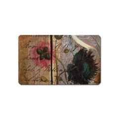 Vintage Bird Poppy Flower Botanical Art Magnet (name Card)
