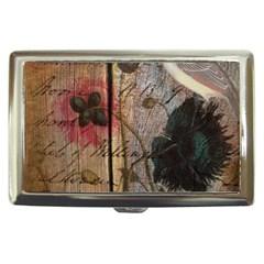 Vintage Bird Poppy Flower Botanical Art Cigarette Money Case