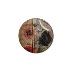 Vintage Bird Poppy Flower Botanical Art Golf Ball Marker 4 Pack