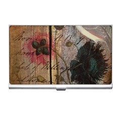 Vintage Bird Poppy Flower Botanical Art Business Card Holder