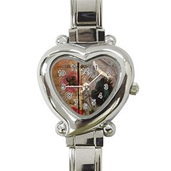 Vintage Bird Poppy Flower Botanical Art Heart Italian Charm Watch