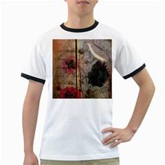 Vintage Bird Poppy Flower Botanical Art Mens' Ringer T-shirt