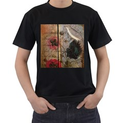 Vintage Bird Poppy Flower Botanical Art Mens' Two Sided T Shirt (black)