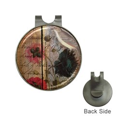 Vintage Bird Poppy Flower Botanical Art Hat Clip with Golf Ball Marker