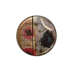 Vintage Bird Poppy Flower Botanical Art Golf Ball Marker (for Hat Clip)