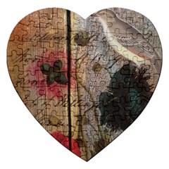 Vintage Bird Poppy Flower Botanical Art Jigsaw Puzzle (Heart)