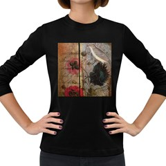 Vintage Bird Poppy Flower Botanical Art Womens' Long Sleeve T-shirt (Dark Colored)