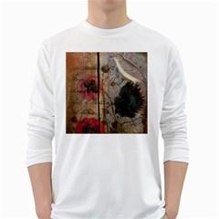 Vintage Bird Poppy Flower Botanical Art Mens' Long Sleeve T Shirt (white)