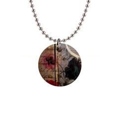 Vintage Bird Poppy Flower Botanical Art Button Necklace