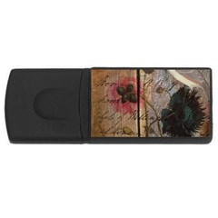 Vintage Bird Poppy Flower Botanical Art 4gb Usb Flash Drive (rectangle)