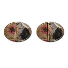 Vintage Bird Poppy Flower Botanical Art Cufflinks (oval)