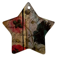 Vintage Bird Poppy Flower Botanical Art Star Ornament (two Sides)