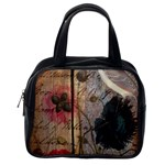 Vintage Bird Poppy Flower Botanical Art Classic Handbag (One Side) Front