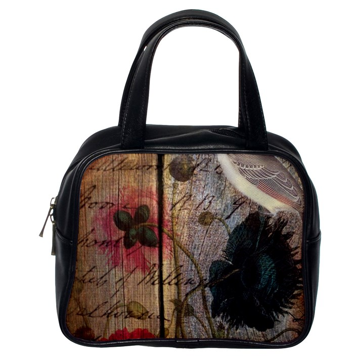 Vintage Bird Poppy Flower Botanical Art Classic Handbag (One Side)