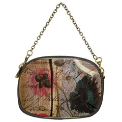 Vintage Bird Poppy Flower Botanical Art Chain Purse (One Side)